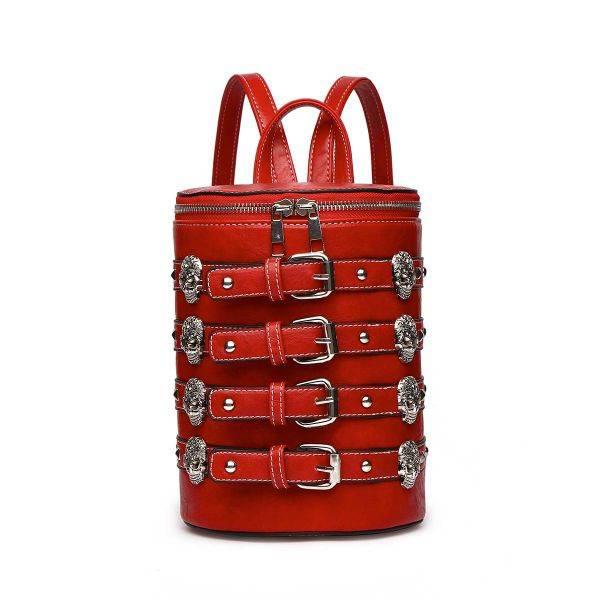 Cherry 'Biker Skull' Belted Barrel Backpack - SKUU 5703
