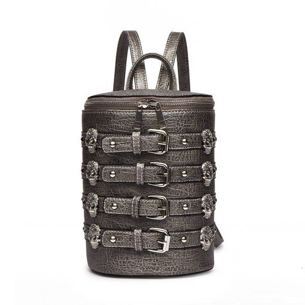 Pewter 'Biker Skull' Belted Barrel Backpack - SKUU 5703