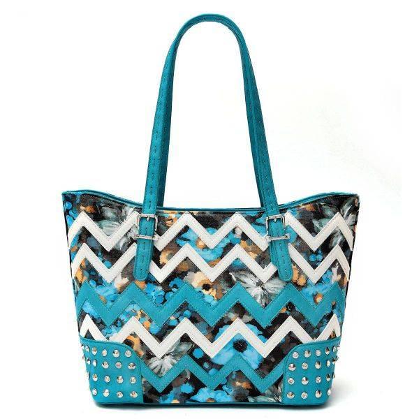 Blue Zigzag Tote Handbag - SQM8 4975B