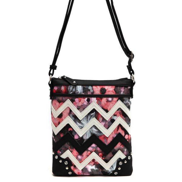 Black Zigzag Messenger Bag - SQM8 9469