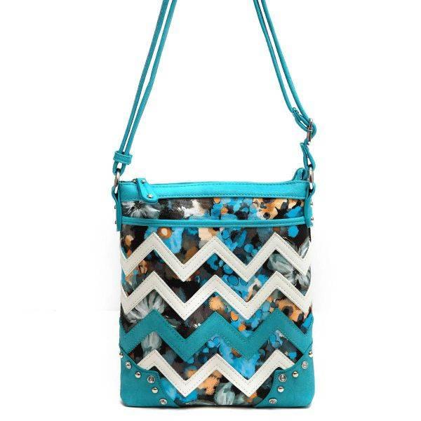 Blue Zigzag Messenger Bag - SQM8 9469