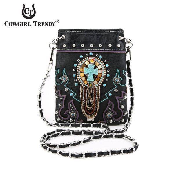 Black 'Beads & Cross' Western Messenger Bag - SSA2 5397