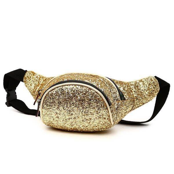 Gold Glittered Fanny Pack Round Pocket - STAR 200