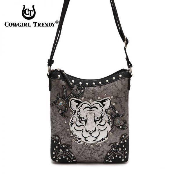 Black 'Tiger' Western Cowgirl Messenger Bag - TIG 4699