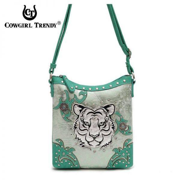 Green 'Tiger' Western Cowgirl Messenger Bag - TIG 4699
