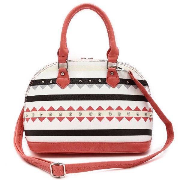 Coral Transformed Stripe Satchel Handbag - TRO 5234