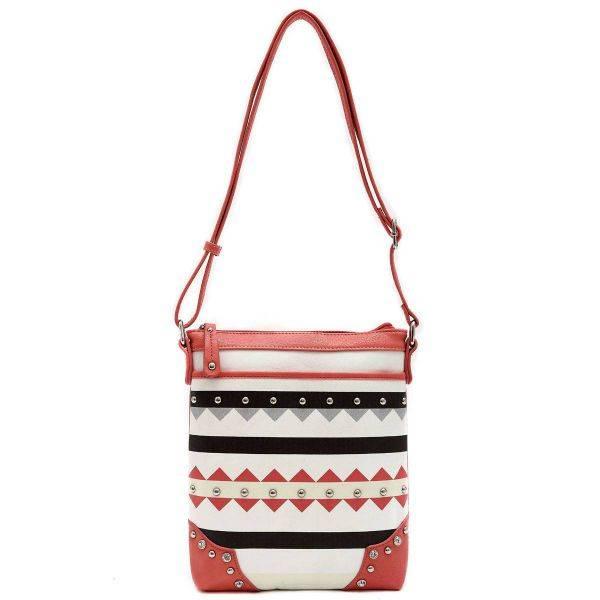 Coral Geometric Print Studded Design Messenger Bag - TRO 9469