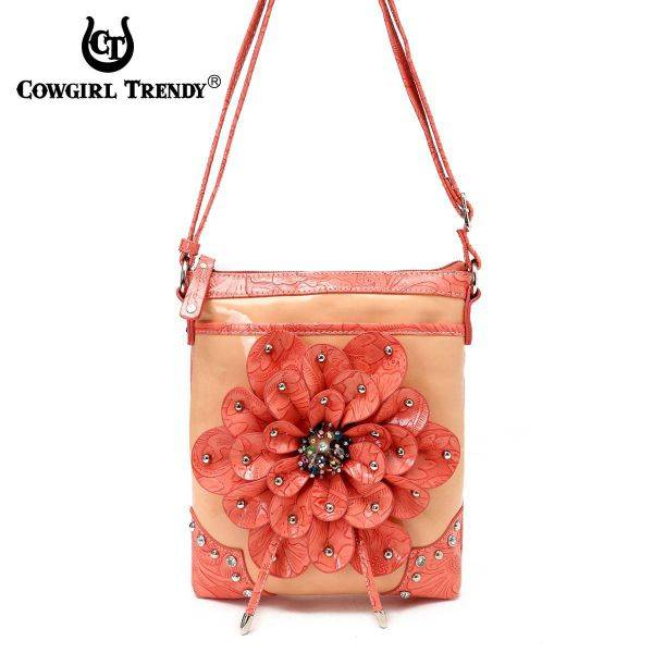 Coral Flower Center Accented And Studs Messenger Bag - TUF 4699F