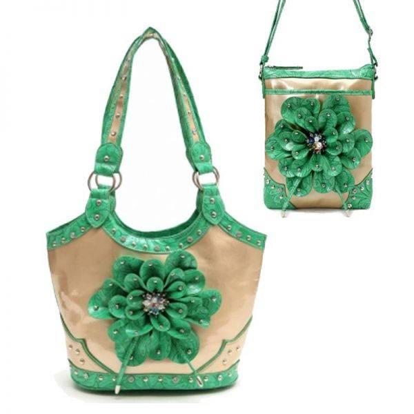 Green Flower Center Handbag & Messenger Bag - TUF 361-4699