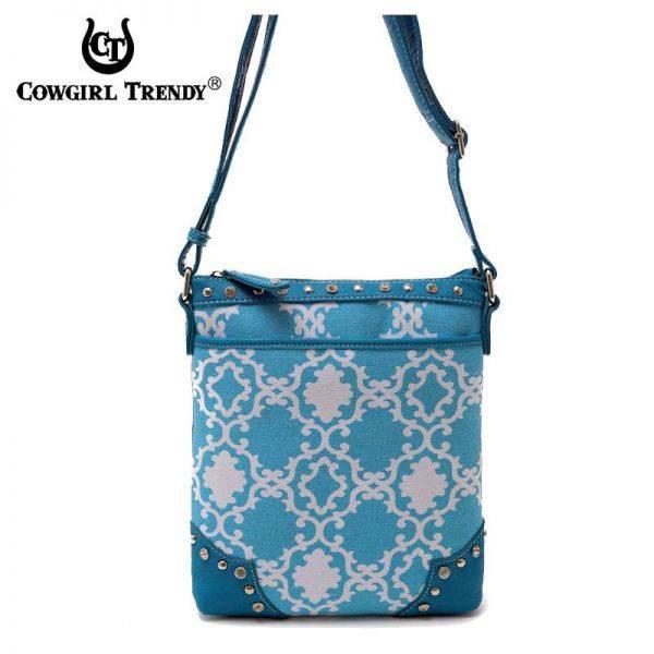 Blue Cowgirl Trendy Quatrefoil Print Messenger Bag - TUR 9469