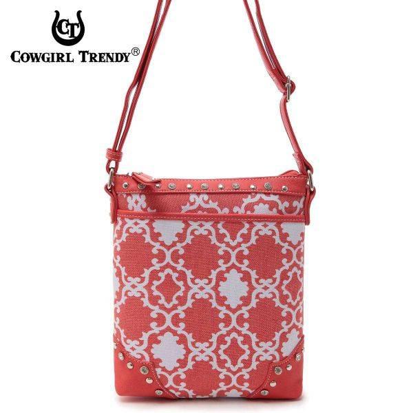 Coral Cowgirl Trendy Quatrefoil Print Messenger Bag - TUR 9469