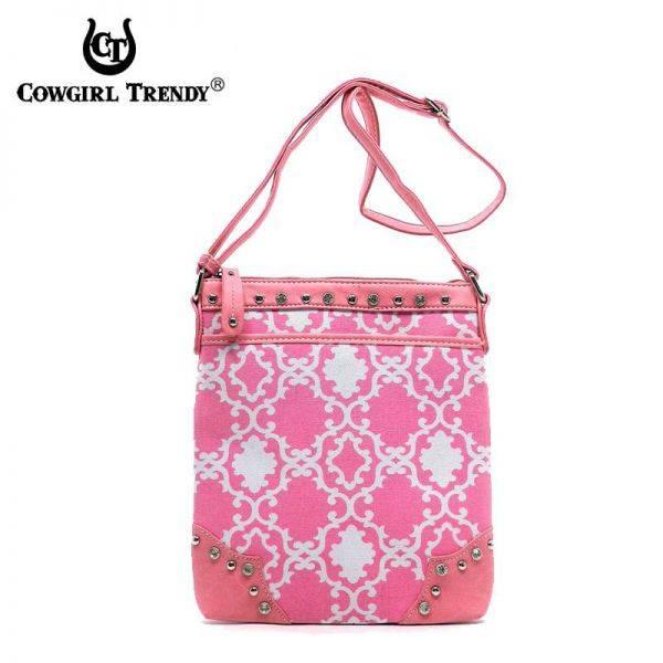 Fuchsia Cowgirl Trendy Quatrefoil Print Messenger Bag - TUR 9469