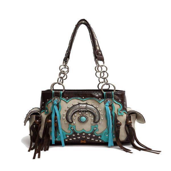 Brown Cowgirl Trendy 'Concho & Tusk' Handbag - UTS 8469