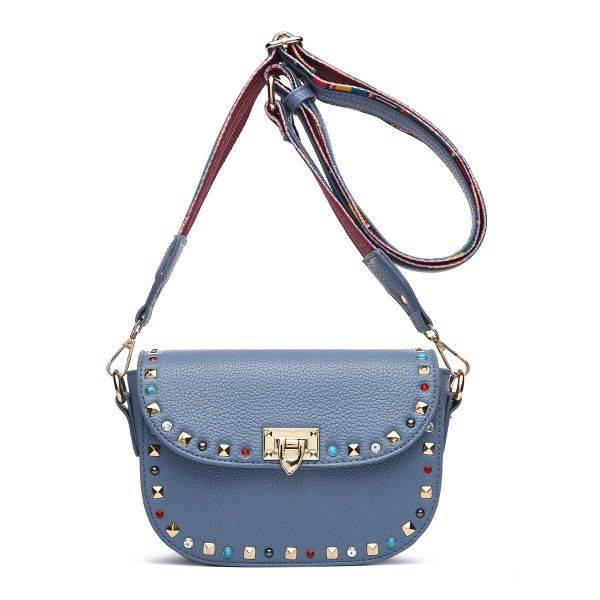 Grey Solid Flap Color Stones & Studs Messenger Bag - VAV 5466