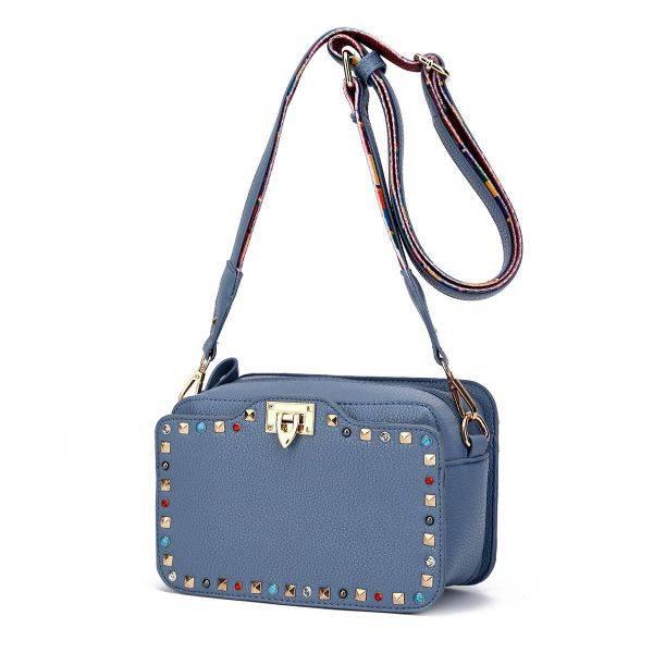 Grey Solid Flap Color Stones & Studs Messenger Bag - VAV 5467
