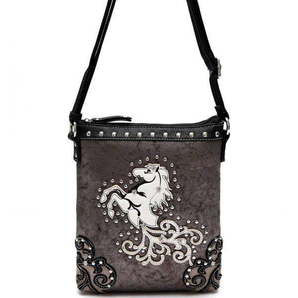 Black Western Cowgirl Horse Messenger Bag - WHO 4699