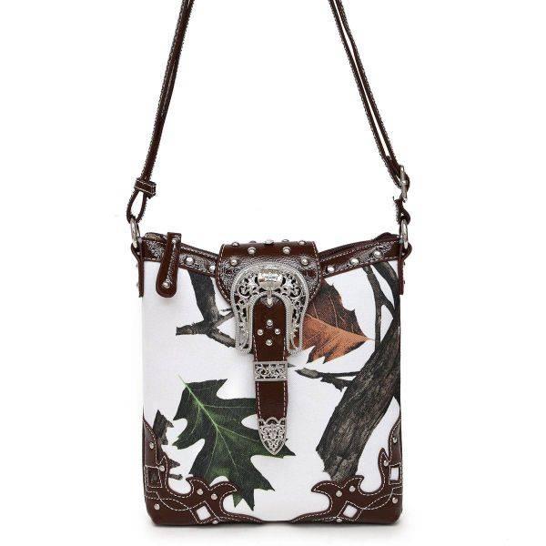 Brown Leaves N Trees  Concealed Gun Messenger Bag - WML 4699