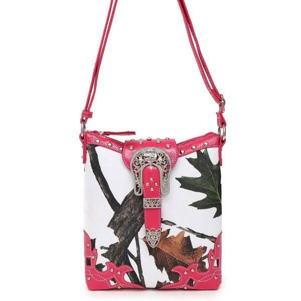 Fuchsia Leaves N Trees  Concealed Gun Messenger Bag - WML 4699