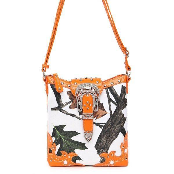 Orange Leaves N Trees  Concealed Gun Messenger Bag - WML 4699