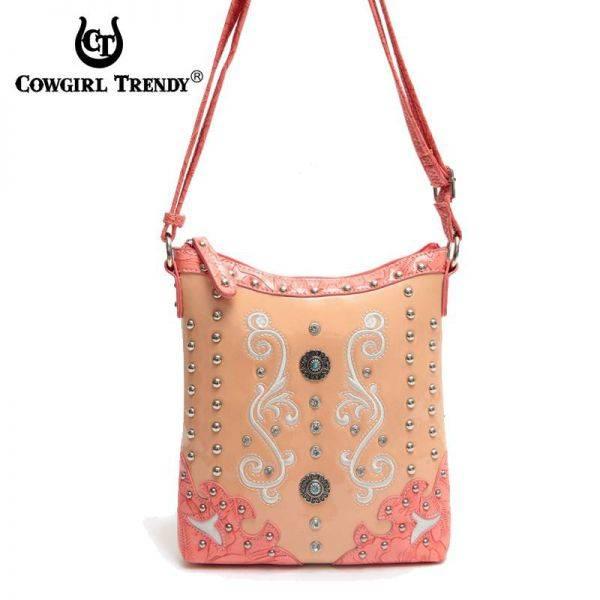 Coral Western Cowgirl Concho Messenger Bag - WSU 4699