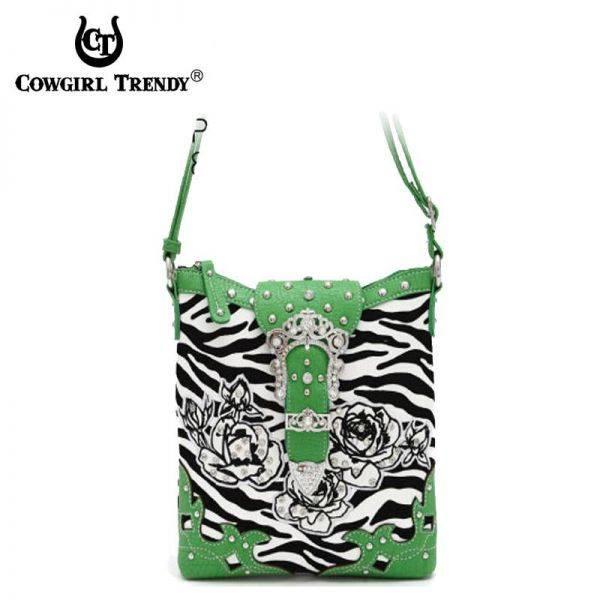 Lime Zebra Print & Flower Belt Clip Messenger Bag - ZBR 4699