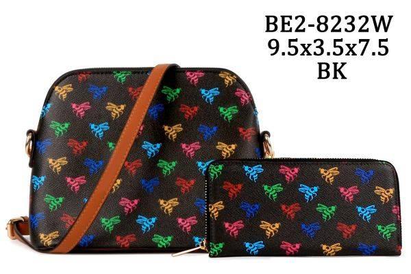 Black 2 IN 1 Honey Bee Monogram Dome Crossbody Wallet - BE28232