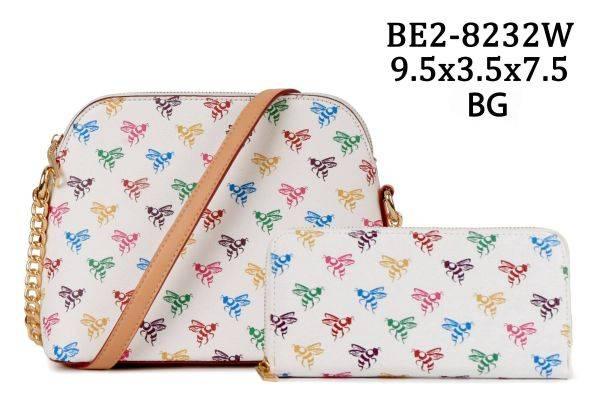White 2 IN 1 Honey Bee Monogram Dome Crossbody Wallet - BE28232