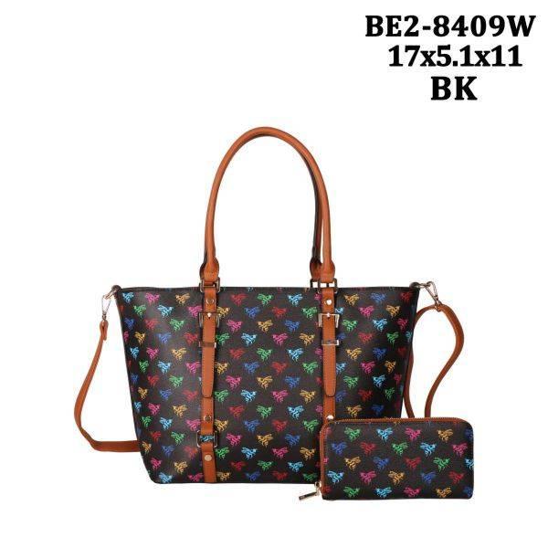 Black 2 IN 1 Colorful Bee Print Tote Bag Wallet Set - BE28409W