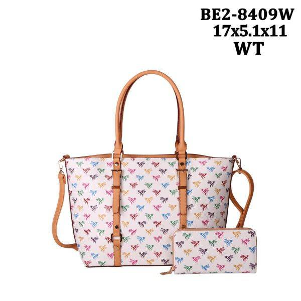 White 2 IN 1 Colorful Bee Print Tote Bag Wallet Set - BE28409W
