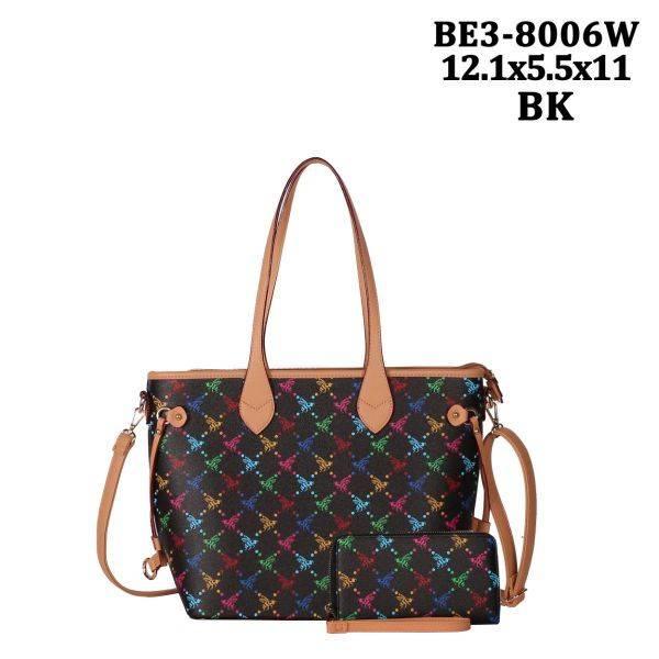 Black 2 IN 1 Honey Bee Monogram Handbag Wallet - BE38006W