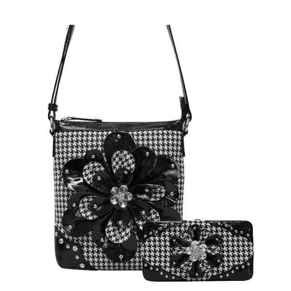 Black Houndtooth W/Flower Western Messenger Bag Set - HTF2 4699