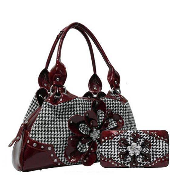 Burgundy Hountooth With Flower Handbag Set - HTF2 8089