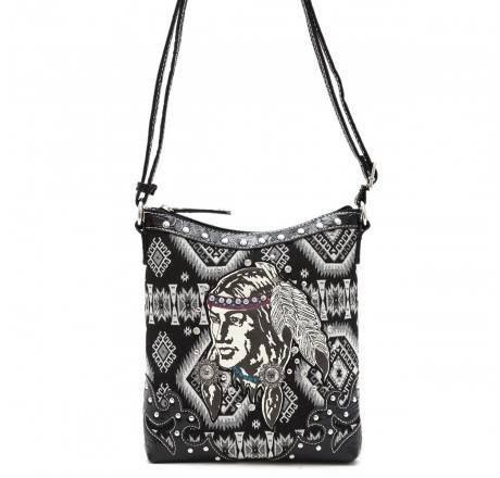 Black 'Native American' Western Messenger Bag - INW 4699