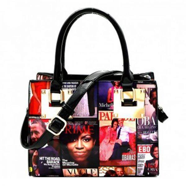 Black Michelle Obama Magazine Handbag - MB4009X