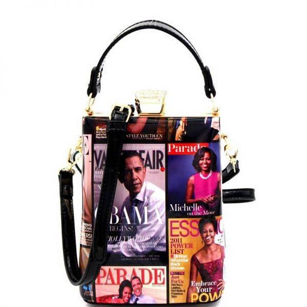 Black Michelle Obama Magazine Handbag - MB5012H