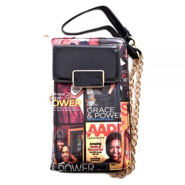 Black Magazine Cover Collage Zip Around Wallet Wristlet MBW4200