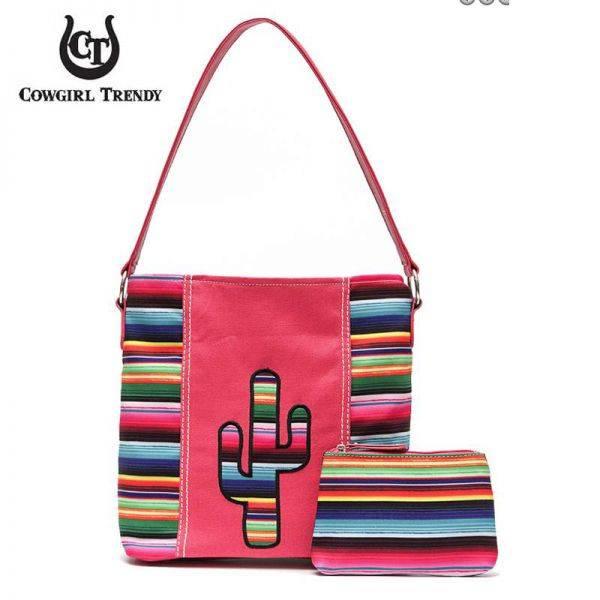 Coral Rainbow With Cactus Serape Hobo Handbag - SER 5435