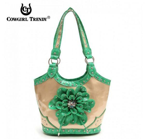 Green Western Flower Center Accented Handbag - TUF 361