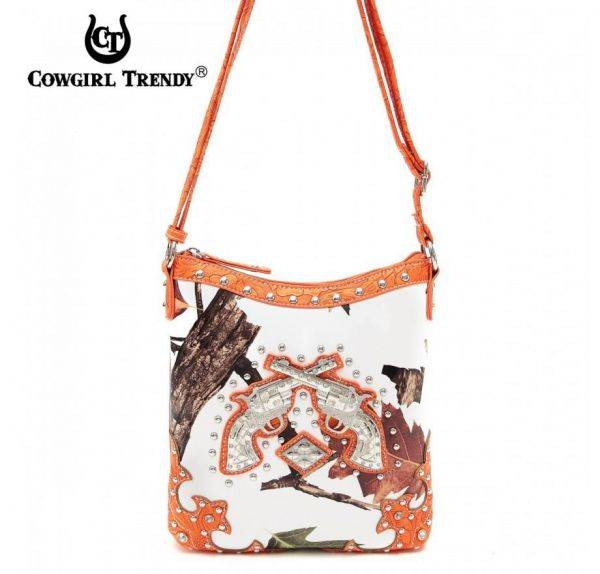 Orange Cowgirl Trendy Double gun Messenger Bag - WML3 4699