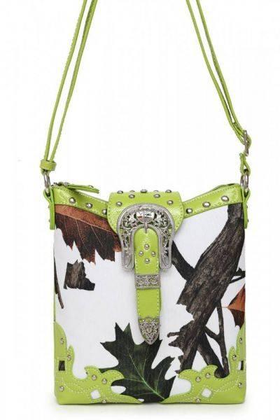 Lime Leaves N Trees  Concealed Gun Messenger Bag - WML 4699